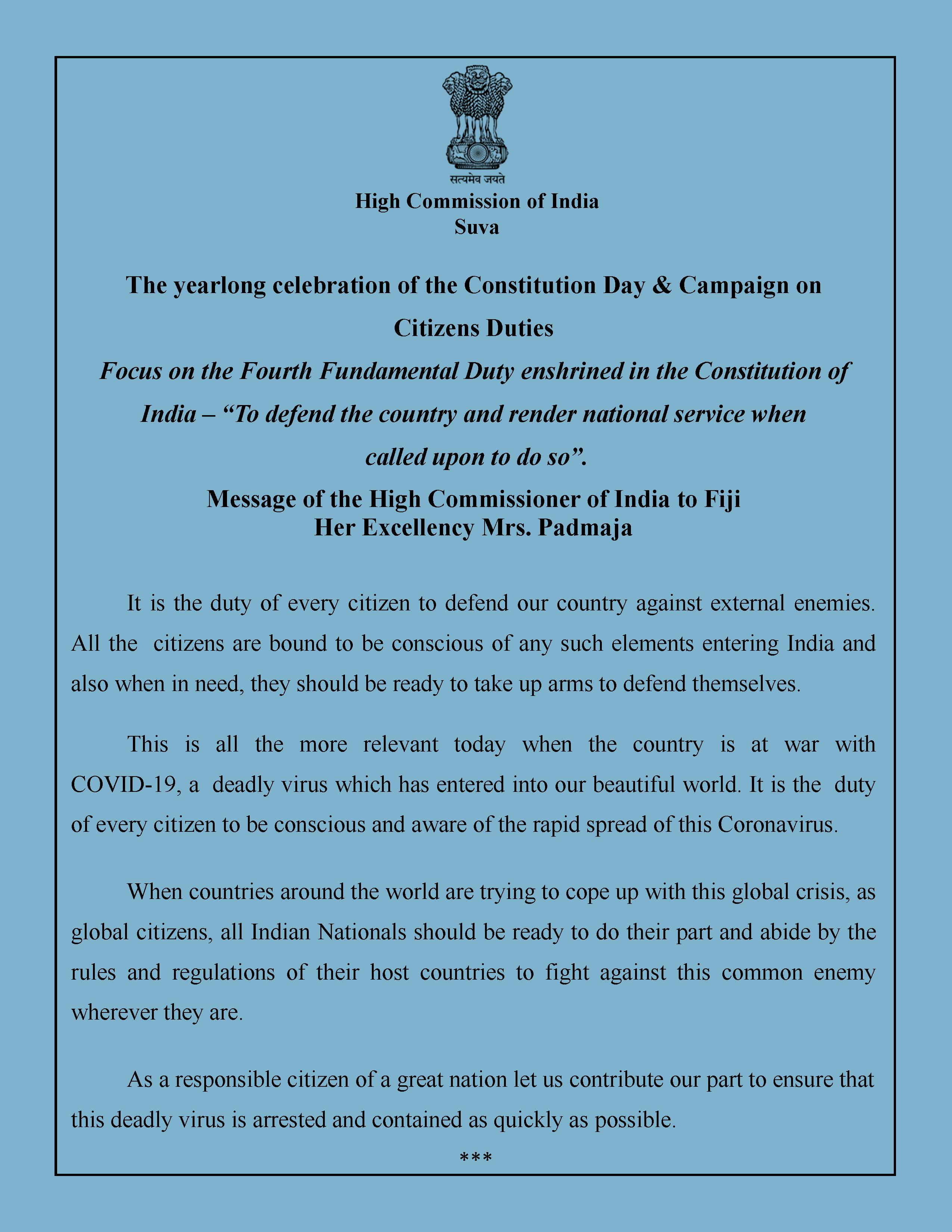 Message of the High Commissioner in connection with Constitution Day & Campaign on Citizens Duties