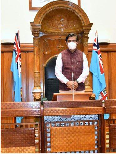 Speaker's Chair in the Parliament Chamber, a gift from the Government of India in 1970.