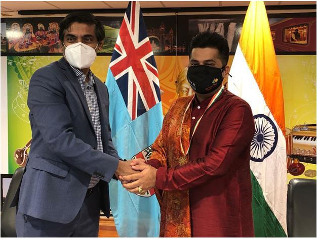 High Commissioner H.E P. S. Karthigeyan with Sai Prema Foundation Fiji Director, Mr. SumeetTappoo